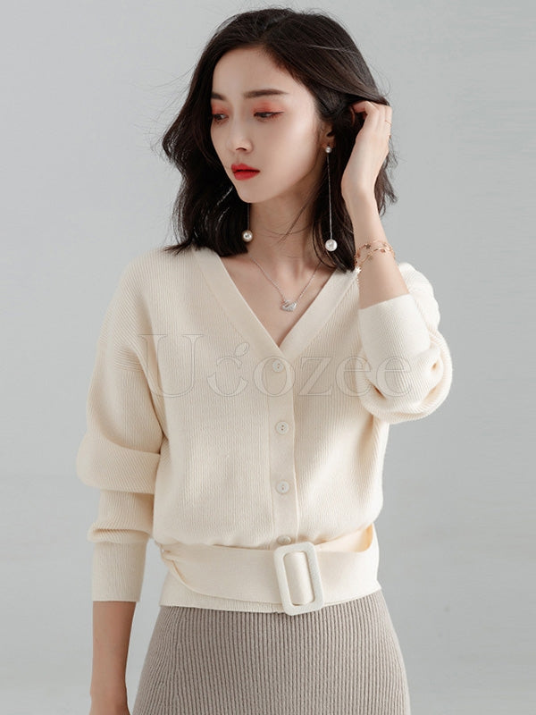 Solid V-Neck Belted Knitting Sweater