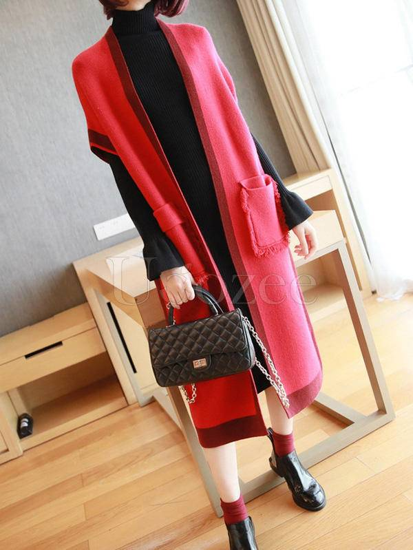 Casual Knitting Long Sleeveless Outwears