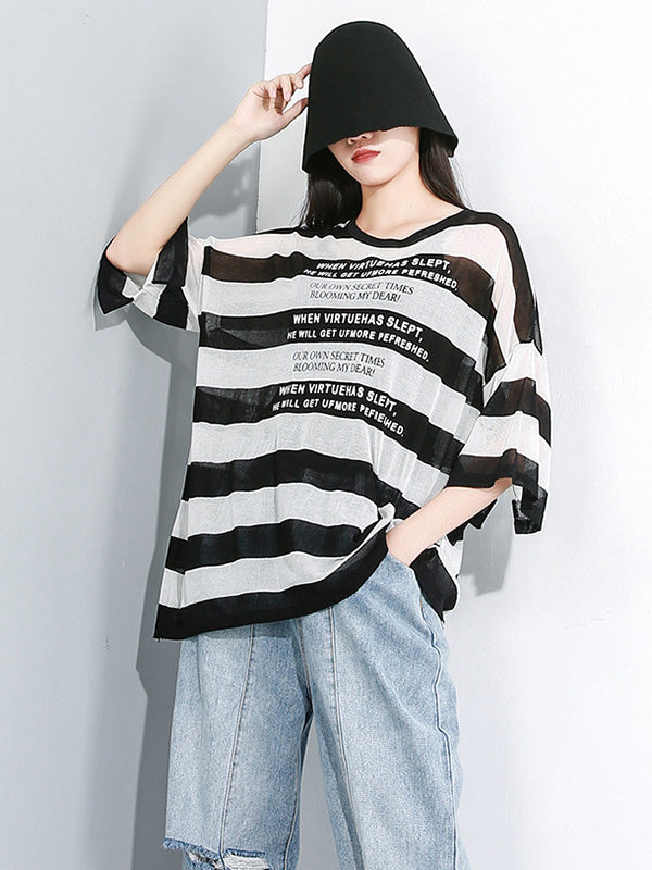Striped See-through Sun-protection T-shirt