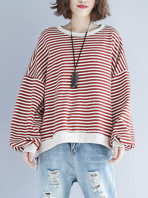 Loose Striped Split-joint Sweatshirt