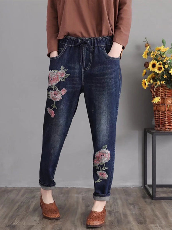 National Flower Embroidered Retro Harem Pants