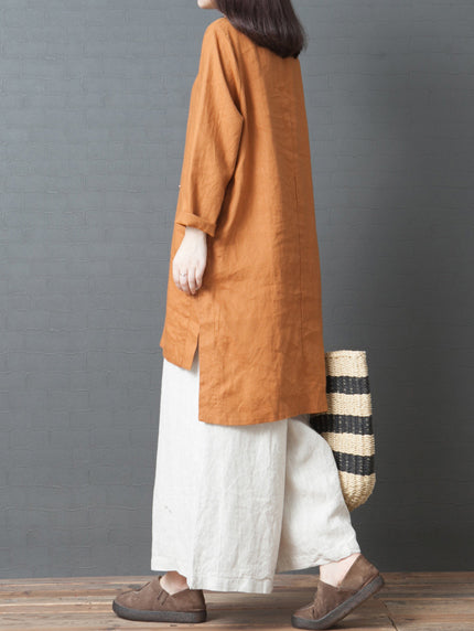 Solid Split-joint Round-neck Short Shirt Dress