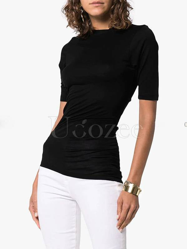 Solid Color Asymmetrical Hem Cropped Pleated T-Shirt