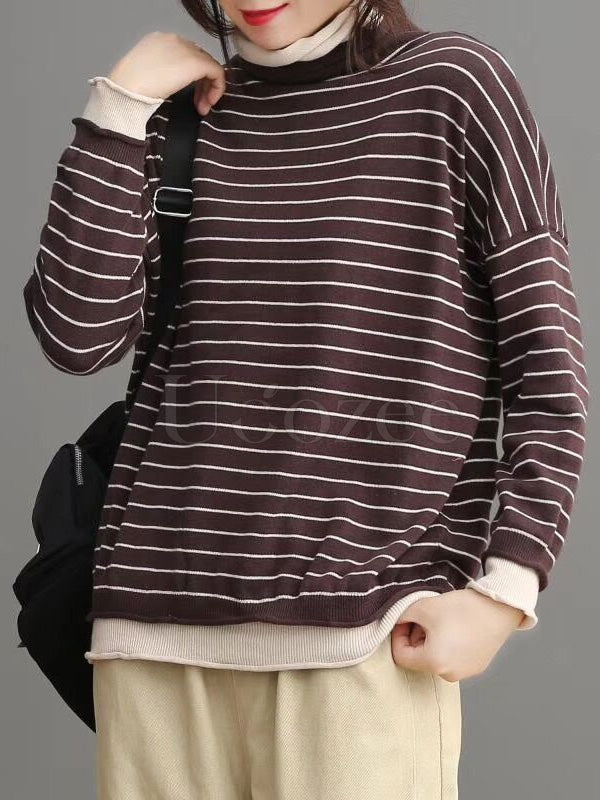 Vintage False-two Split-joint High-neck Striped Sweater