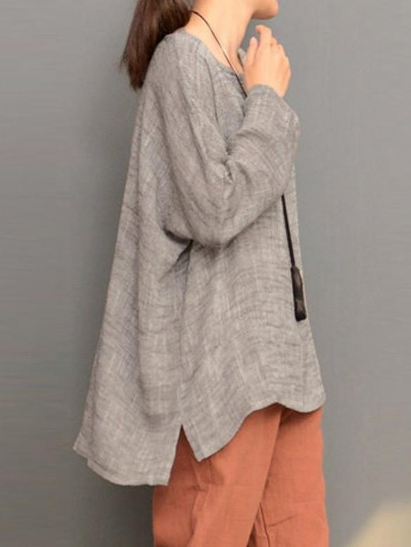 Loose Linen Round-neck Split-joint Long Sleeves T-shirt