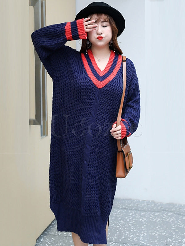 Loose Comfortable V-neck Long Sweater