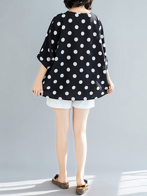 Plus Size Loose Polka-dot T-shirt