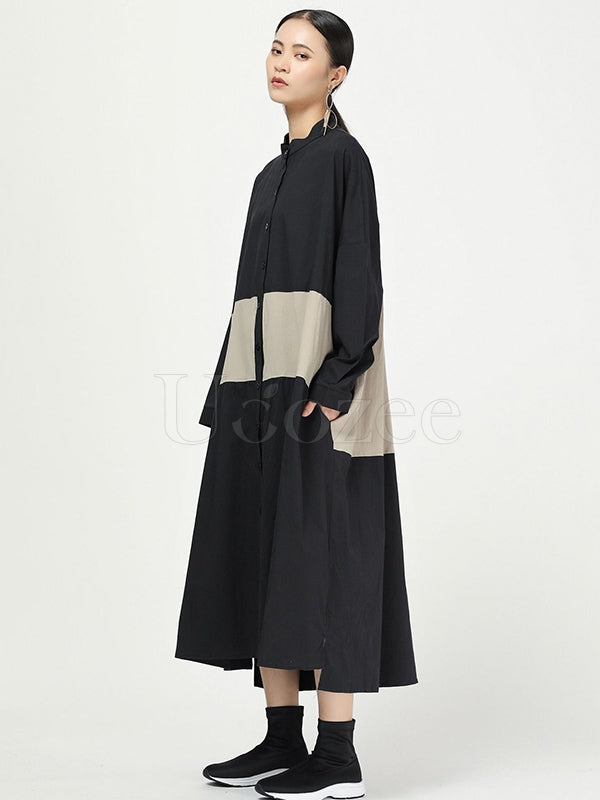 New Loose Split-joint Cotton Long Shirt Dress