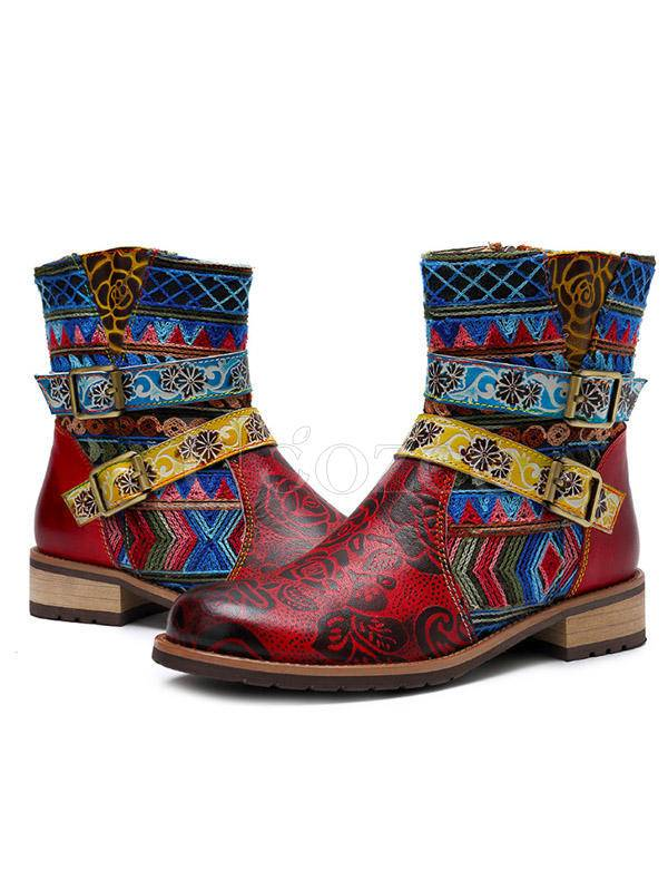 Bohemia Vintage Leather Mid Boots
