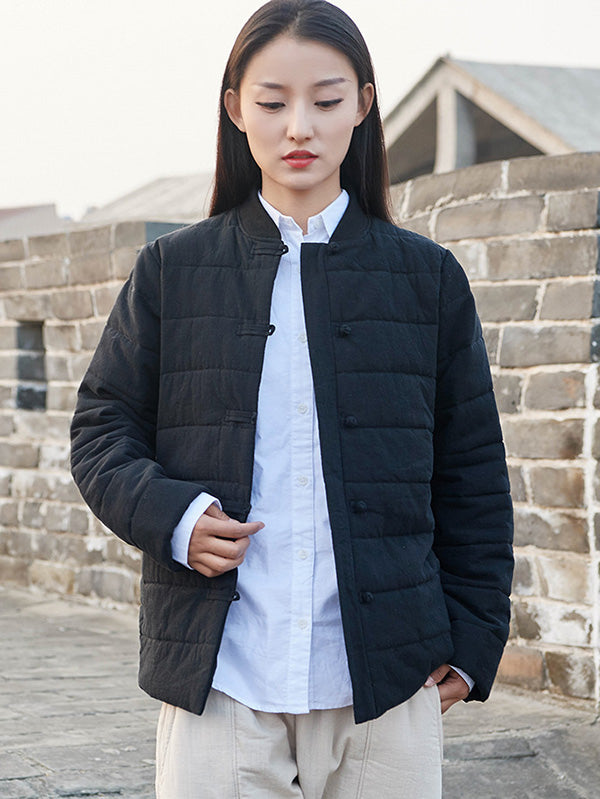 National Retro Button Thicken cotton wadded jacket