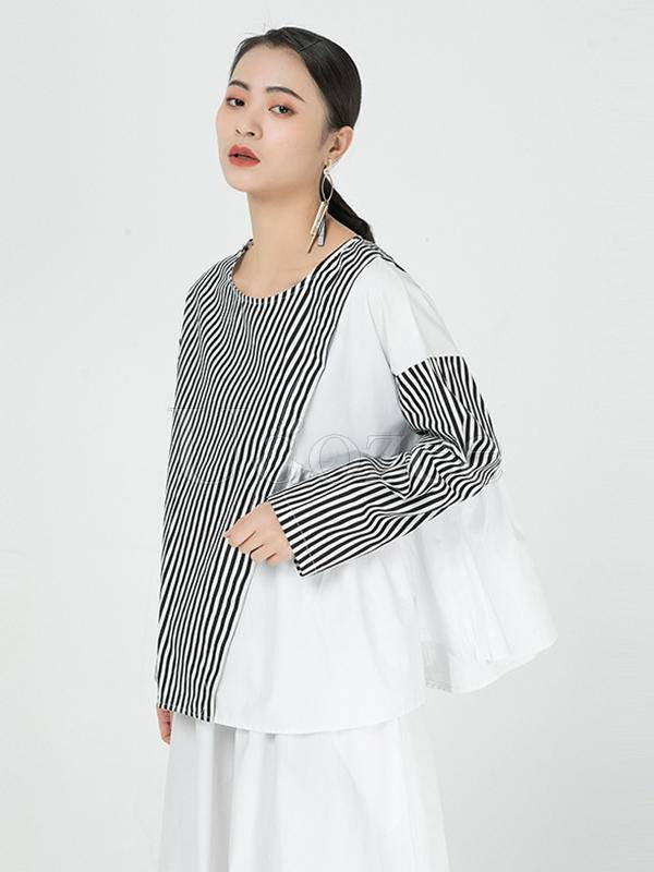 Contrast Color Stripe Cropped Pleated Splicing T-Shirt
