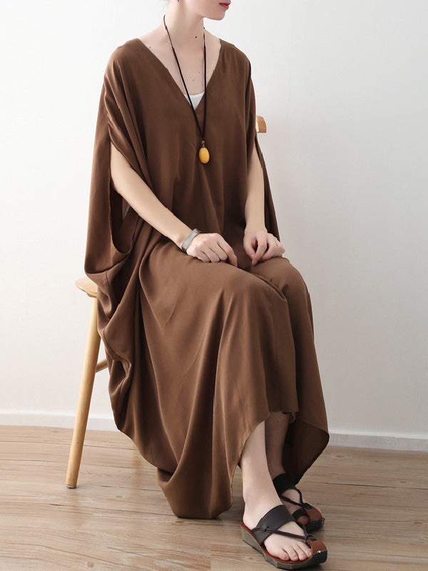 Loose Coffee Batwing Sleeves V-neck Long Dress