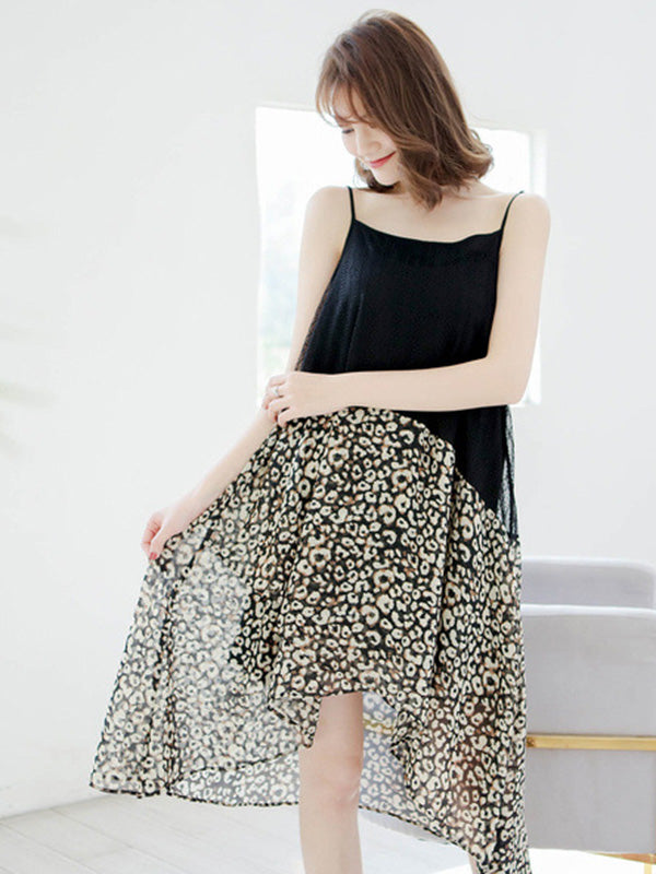 Leopard Print Cotton Split-joint Skirt