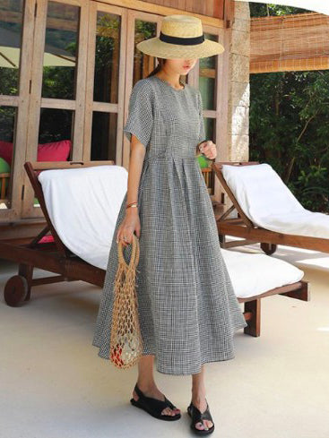 Ramie Cotton Plus Size Plaid Fresh Midi Dresses