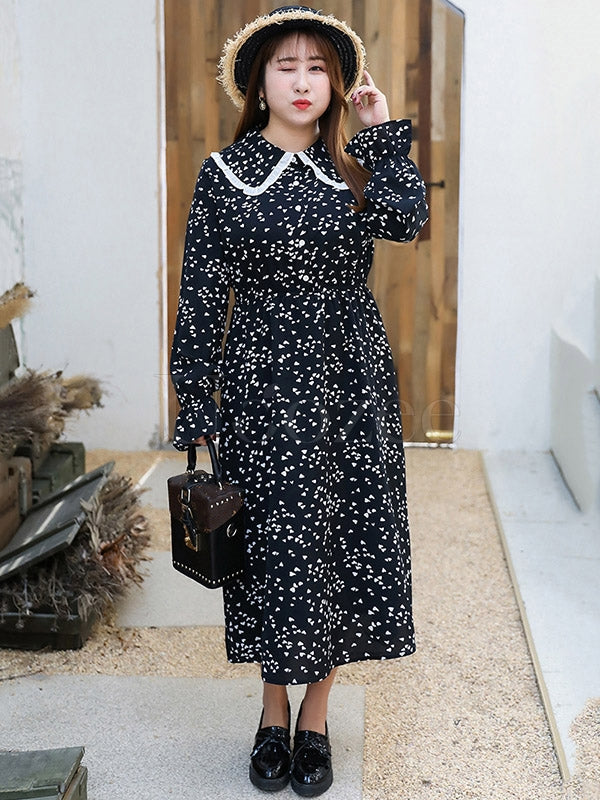 Loose Chubby Girl Floral Long Shirt Dress