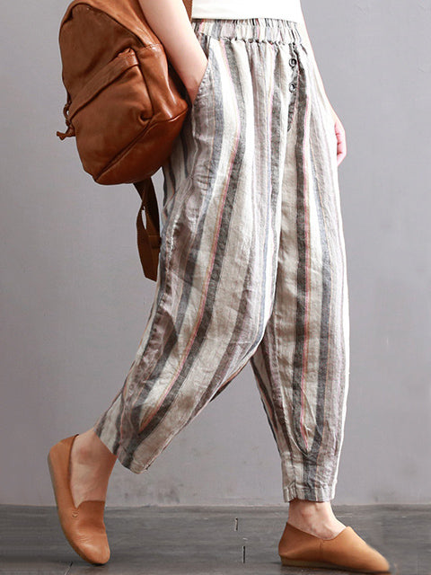 Ramie Cotton Vintage Striped Harem Linen Pants