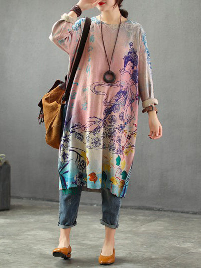 Loose Printed Knitting Sweater Dresses