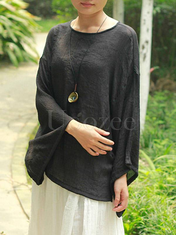 Loose Solid Cotton Vintage Blouses