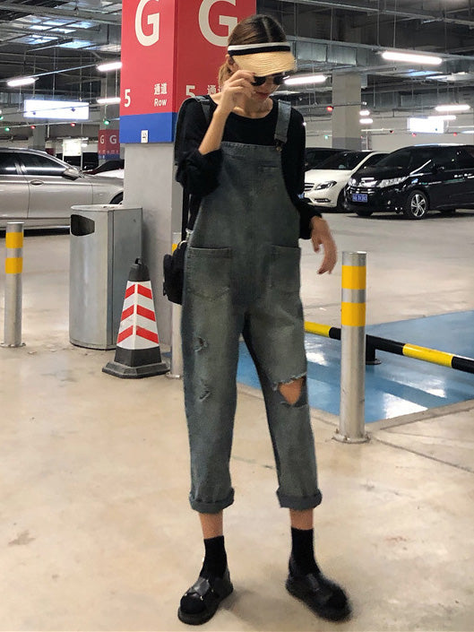 Loose Denim Blue Hollow Jumpsuits