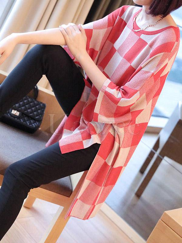 Loose Plaid High-Low Knitwear