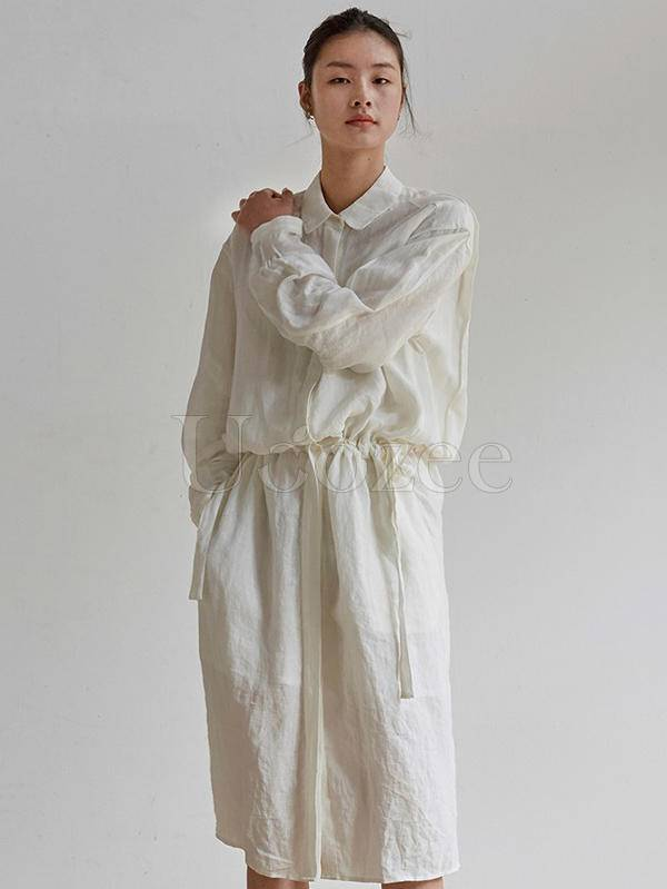 100% Cotton Simple White Lace-up Long Dress