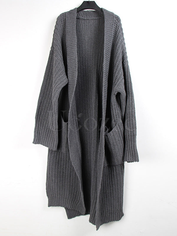 Gray Loose Knitting Long Cardigan Outwear