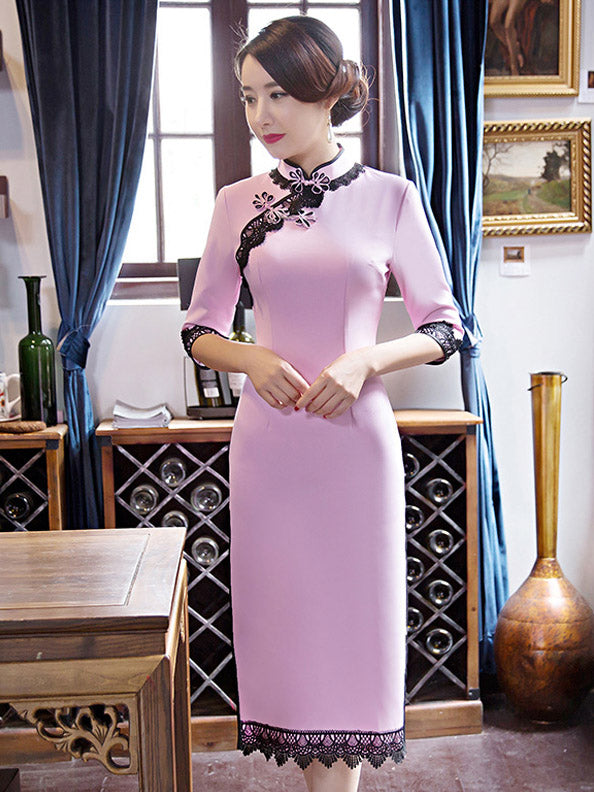 Purple&White Lacy Split-side Long Cheongsam