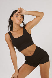 Black Scoop Neck Sports Bra