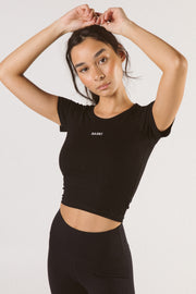 Black Saski Crop Tee