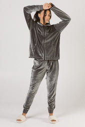 Gunmetal Velour Pants