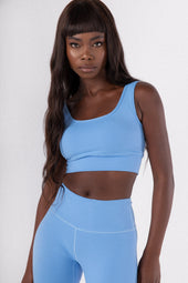 Mid Blue Scoop Neck Sports Bra