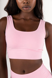 Light Pink Scoop Neck Sports Bra