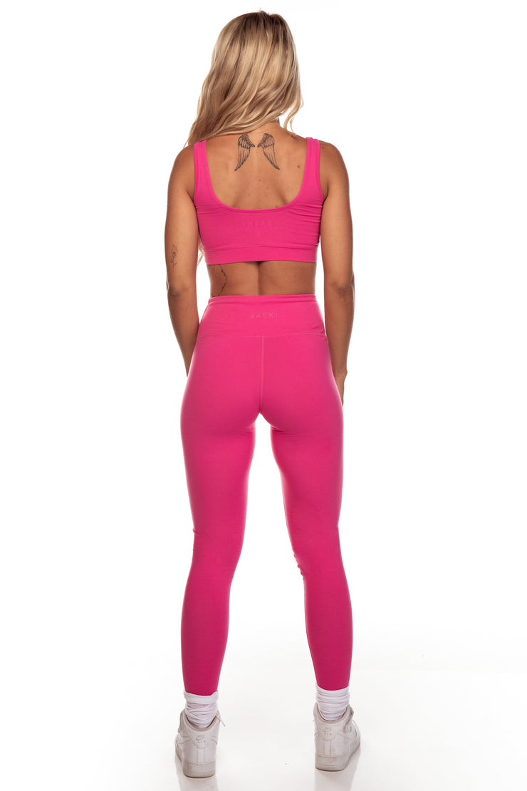 Fuchsia Square Neck Sports Bra
