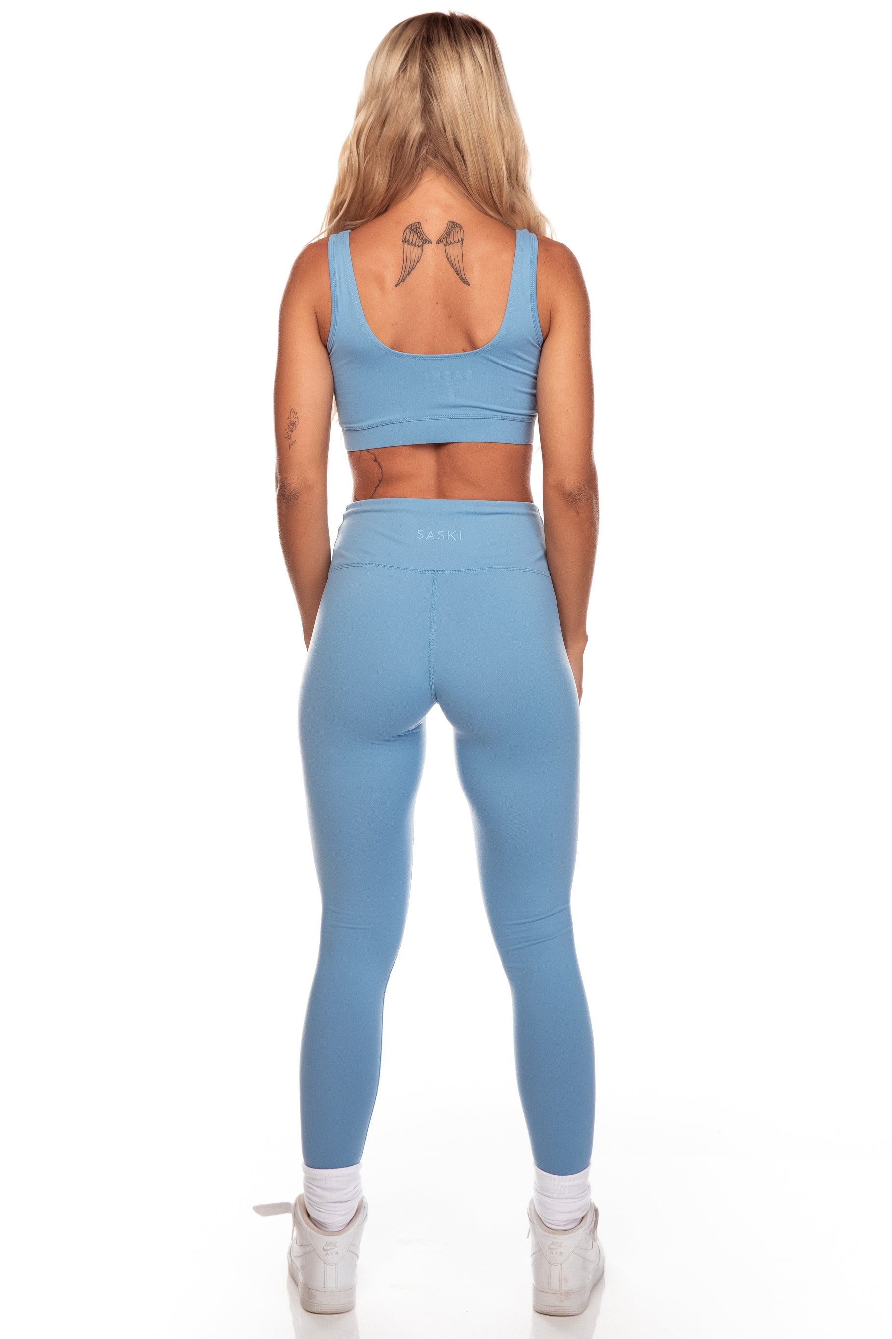 Steel Blue Square Neck Sports Bra