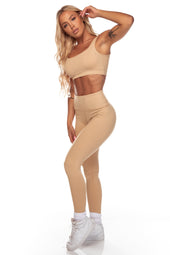Beige Square Neck Sports Bra