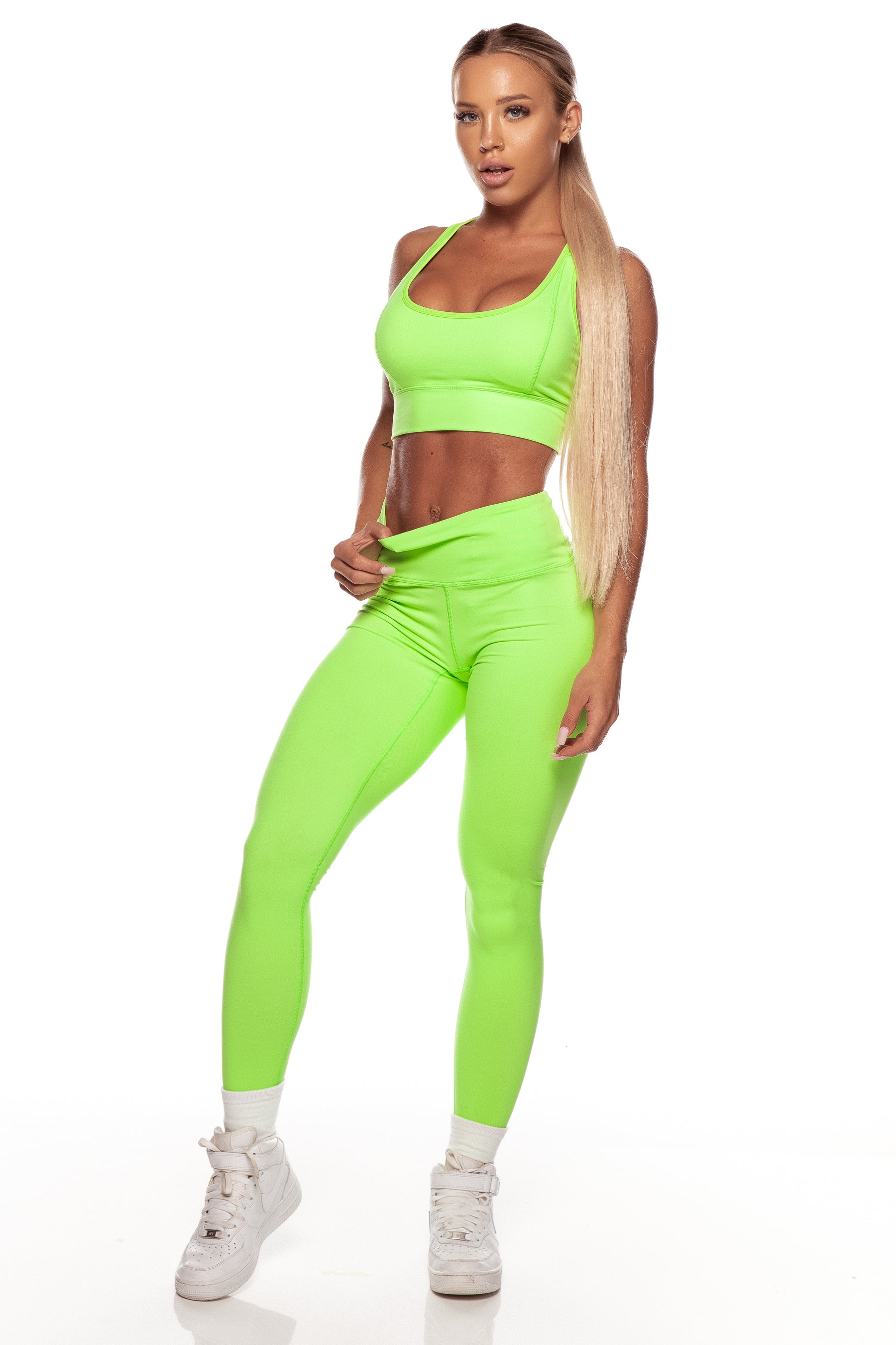 f4008d923f564 Neon Green High Waist Leggings – Saski Collection