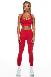 Deep Red Sports Bra