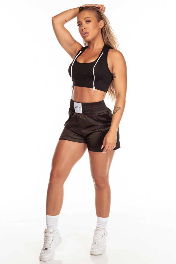 Black Hooded Sports Bra
