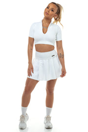 White Zip Front Crop