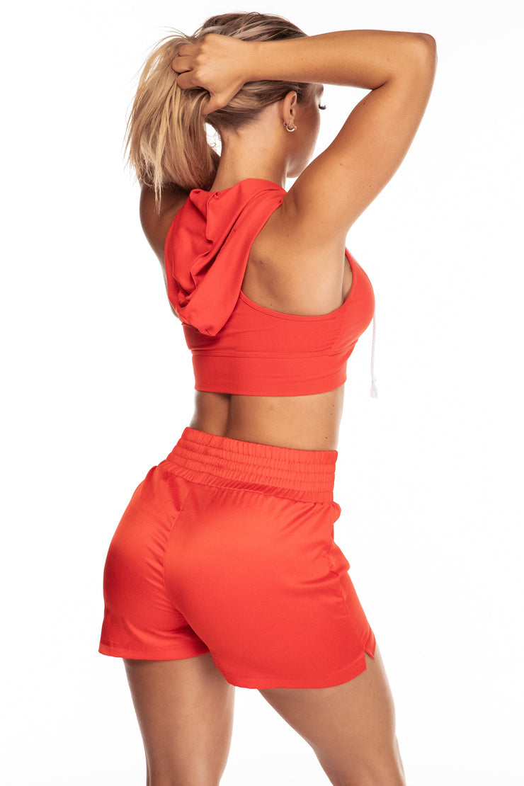 Red Hooded Sports Bra