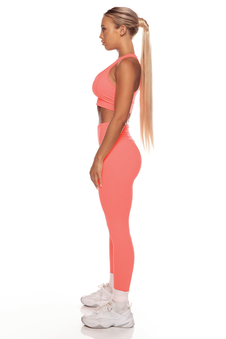 Neon Orange High Waist Leggings