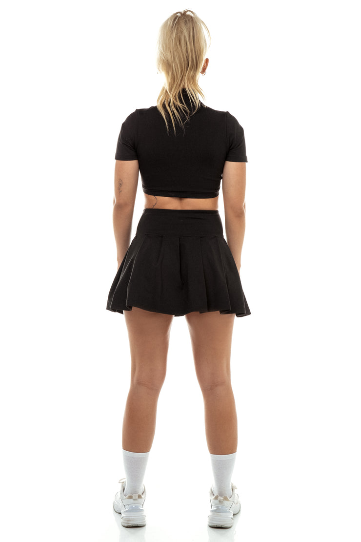 Black Zip Front Crop