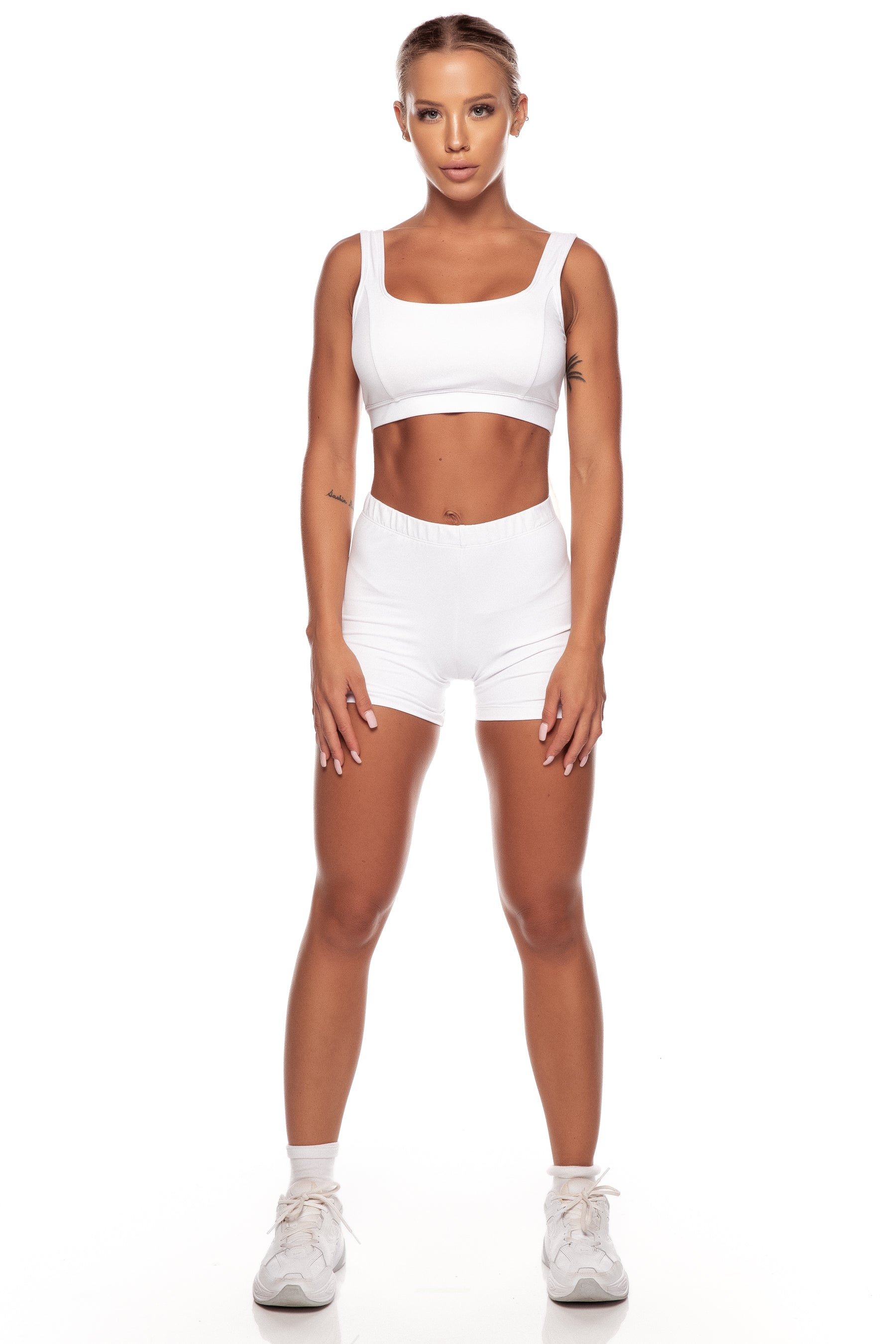 White Square Neck Sports Bra