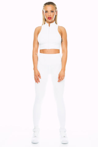 White Mid Waist Leggings