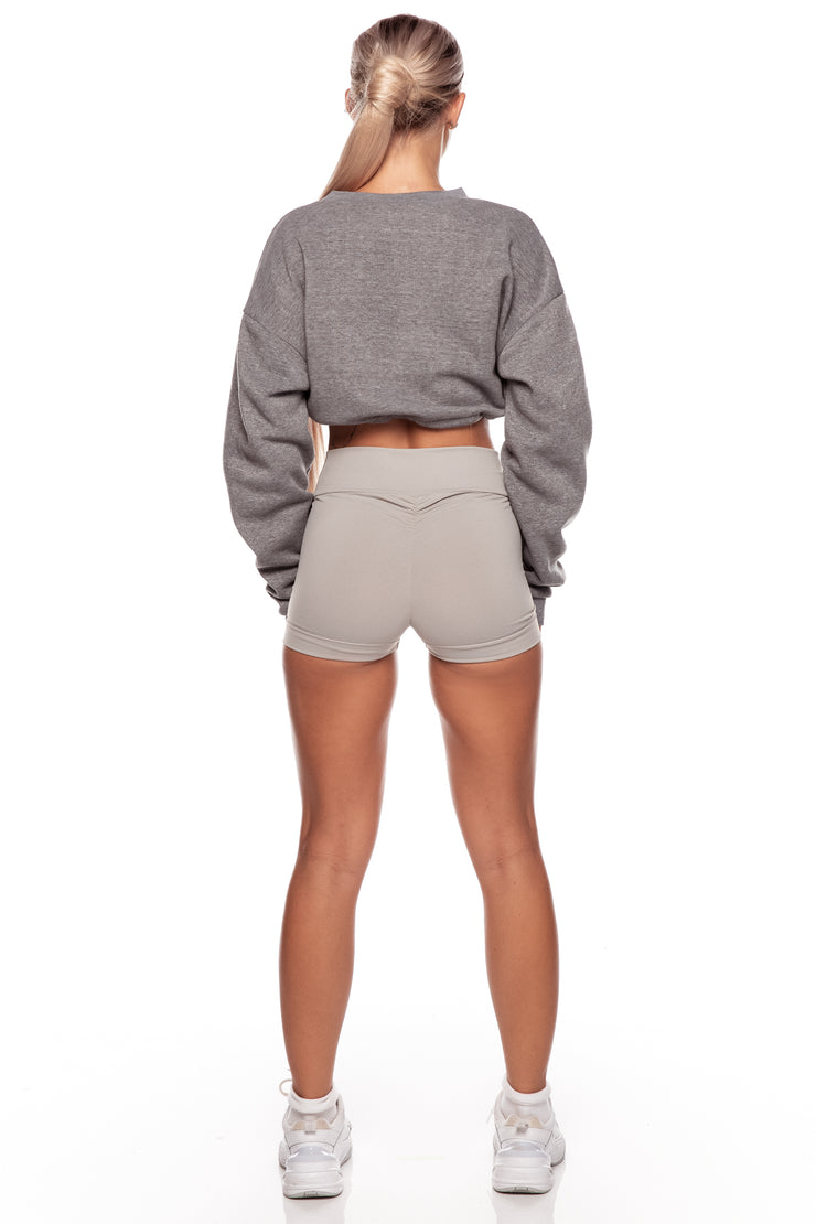 Grey Ruched Booty Shorts