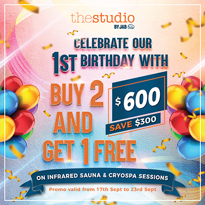 First Birthday Promo - Buy 2 and Get 1 Free on Infrared Sauna & Cryospa Sessions