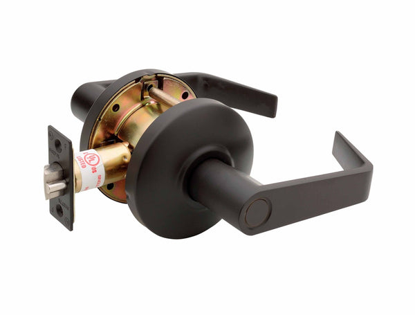 Commercial Non-Handed Grade 2 Security Push Button Privacy   Lever in Oil Rubbed Bronze AL6231-10B by Bulldog
