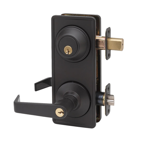 Commercial Non-Handed Grade 2 Security One Point Interconnected Lock with Push Button Lever in Oil Rubbed Bronze AL6941-10B by Bulldog
