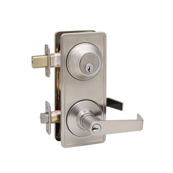 Commercial Non-Handed Grade 2 Security One Point Interconnected Lock with Push Button Lever in Satin Stainless AL6941 SS by Bulldog