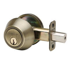 Single Cylinder Deadbolt in Antique Brass DB2410AB by Copper Creek